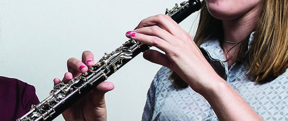 Student playing clarinet