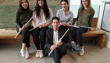 Five flute students