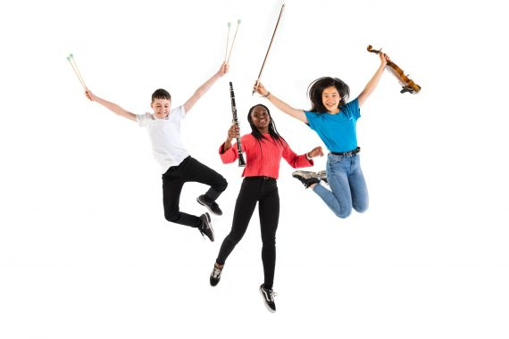 3 students - percussion, woodwind, string