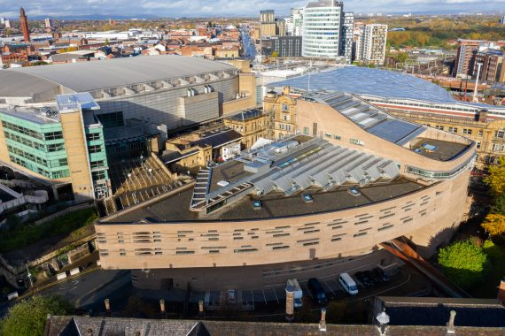 Chetham's New School Building, from the air, opposite Manchester Arena