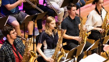Brass students at Chetham's perform on stage