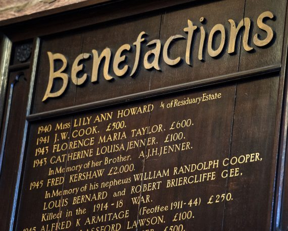 Chetham's Library 'Benefactions' board